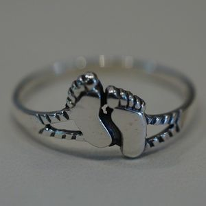 Sterling Silver (.925) Foot Prints Ring